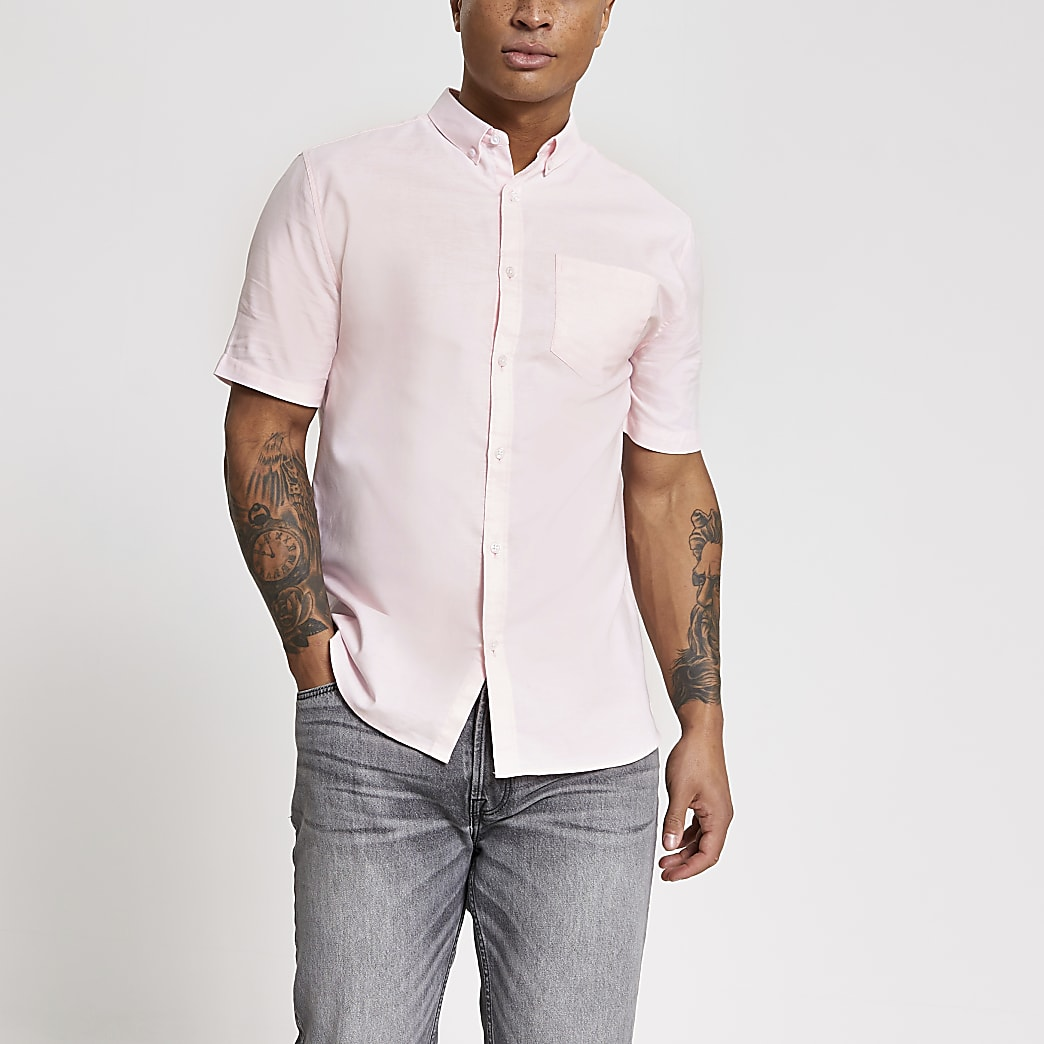 Roze regular-fit Oxford overhemd met korte mouwen