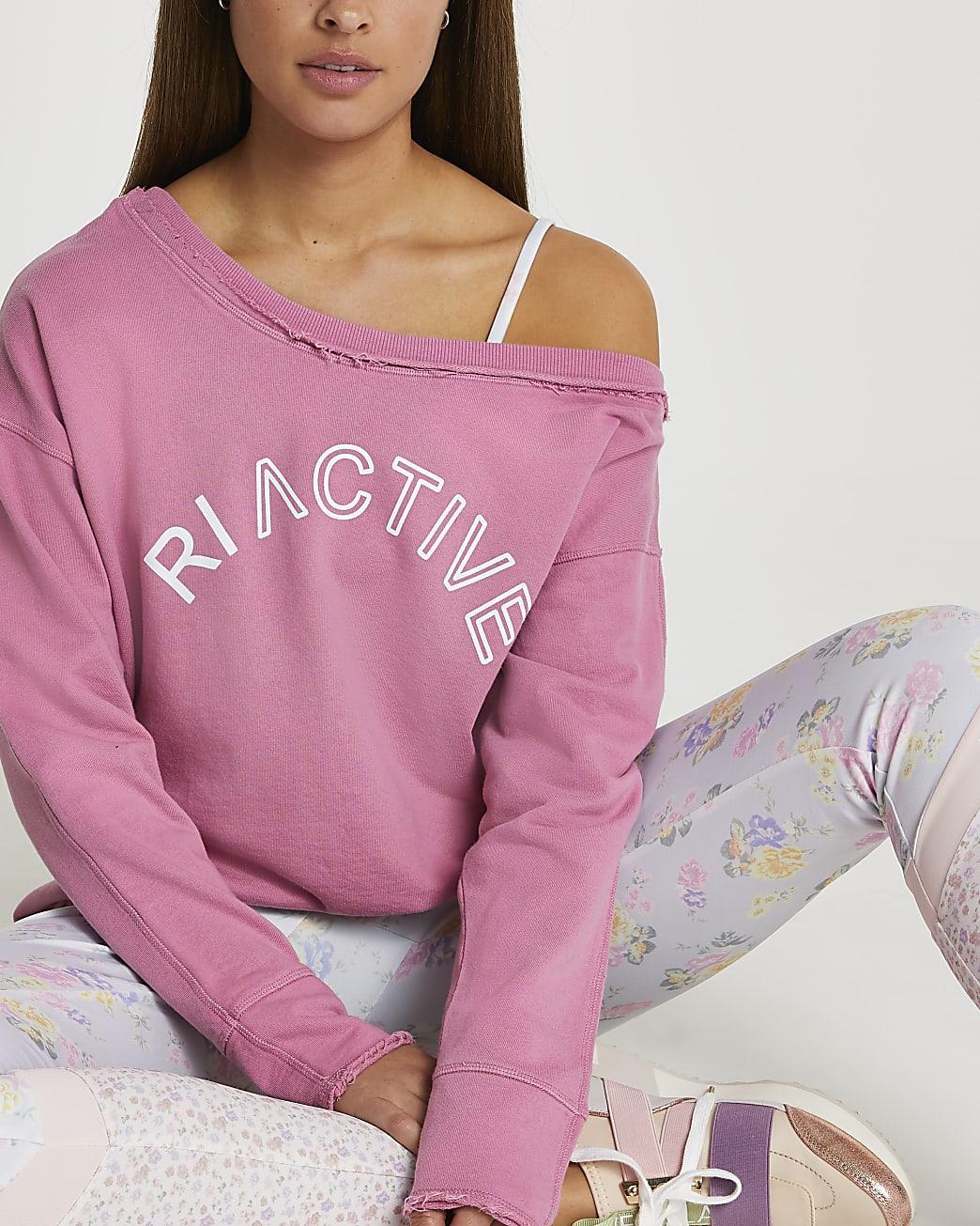 Pink RI Active open neck sweatshirt