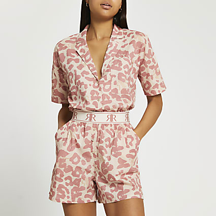 Pink RI animal print shorts