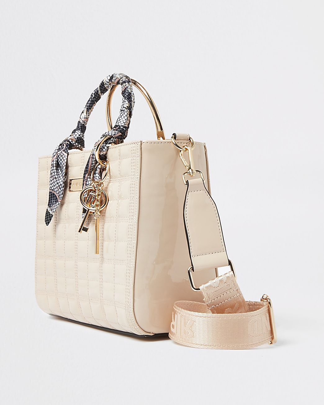 Pink RI boxy quilted tote bag