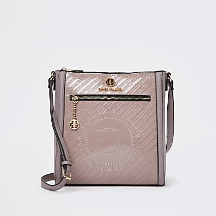 Pink RI branded embossed messenger bag