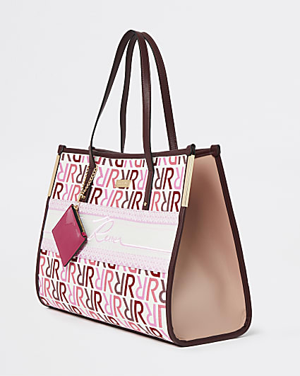 Pink RI branded square shopper bag