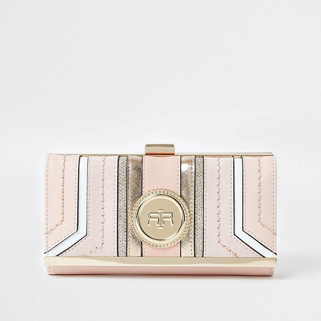 Pink RI coin clip top purse