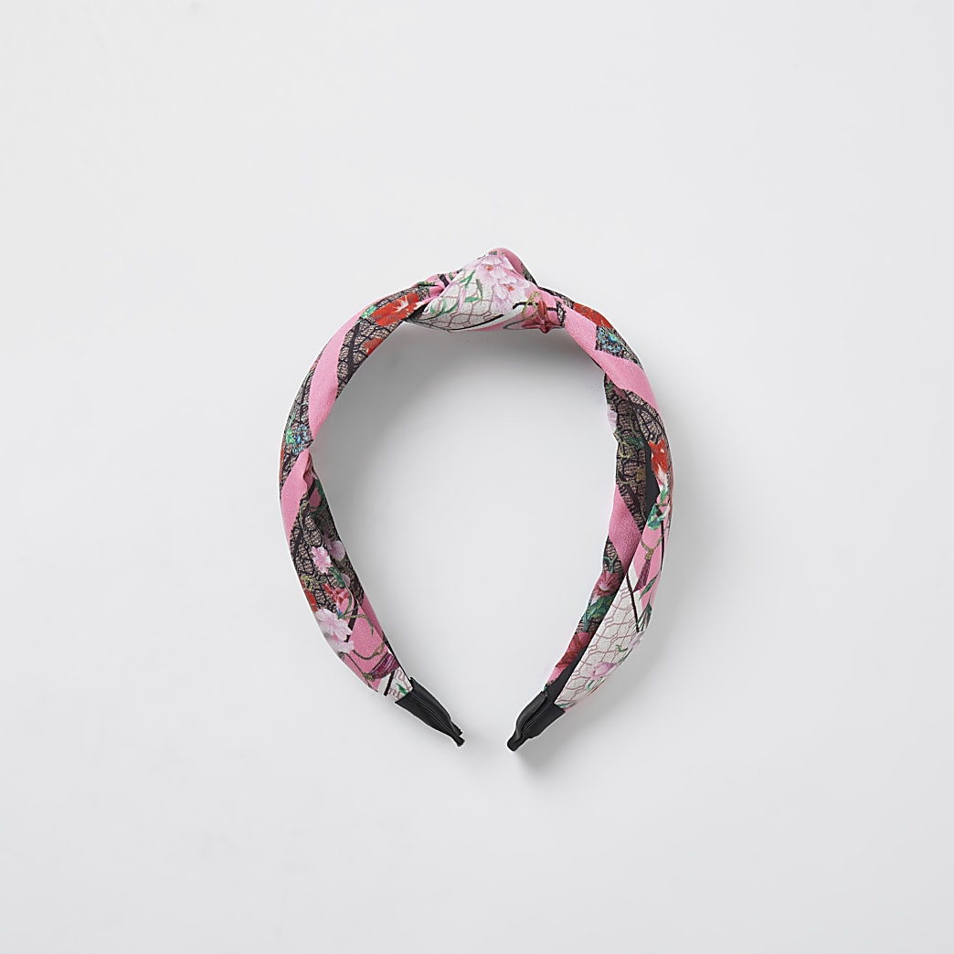 Pink RI contrast floral knot hair band