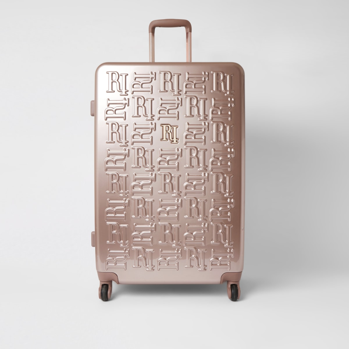Pink RI embossed hardshell large suitcase