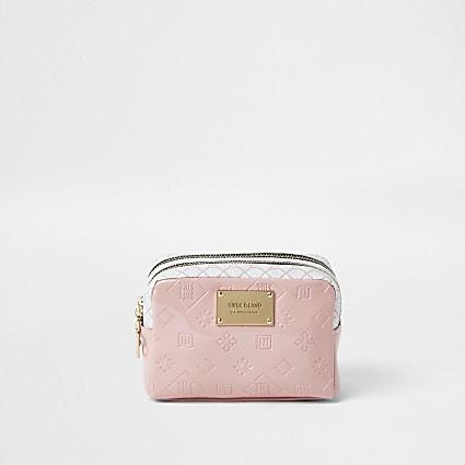 Pink RI embossed make-up bag