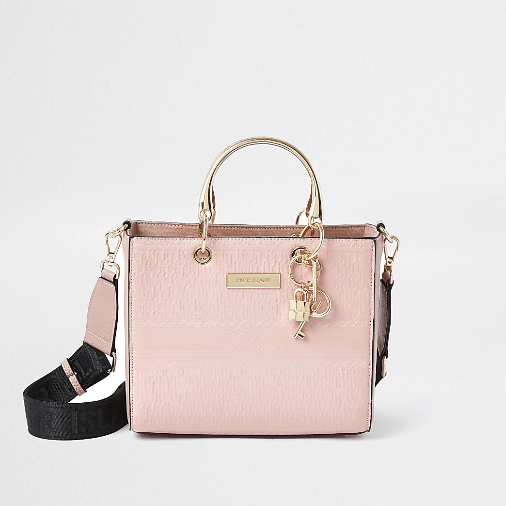 Pink RI embossed monogram tote bag