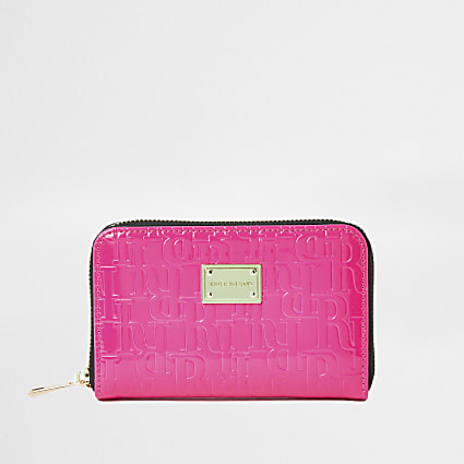 Pink RI embossed zip around mini purse
