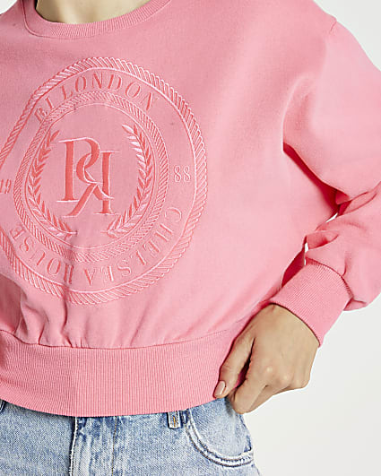 Pink RI embroidered cropped sweatshirt