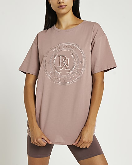 Pink RI embroidered oversized t-shirt