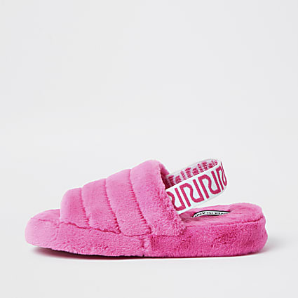 Pink RI faux fur mule slippers