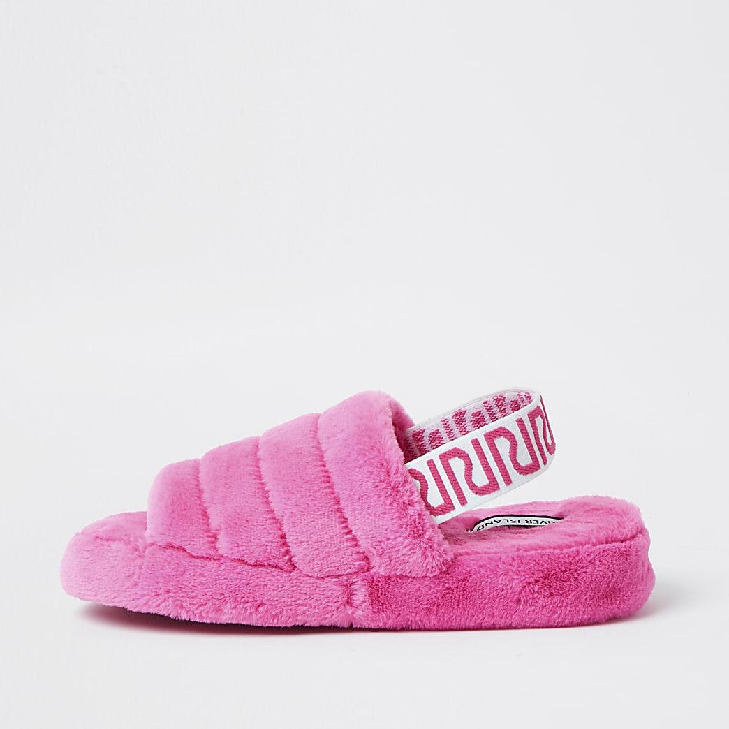 Pink RI faux fur mule slippers
