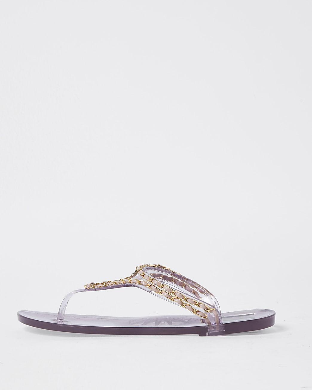 Pink RI gold chain jelly sandal