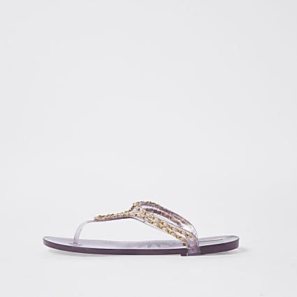 Pink RI gold chain jelly sandal
