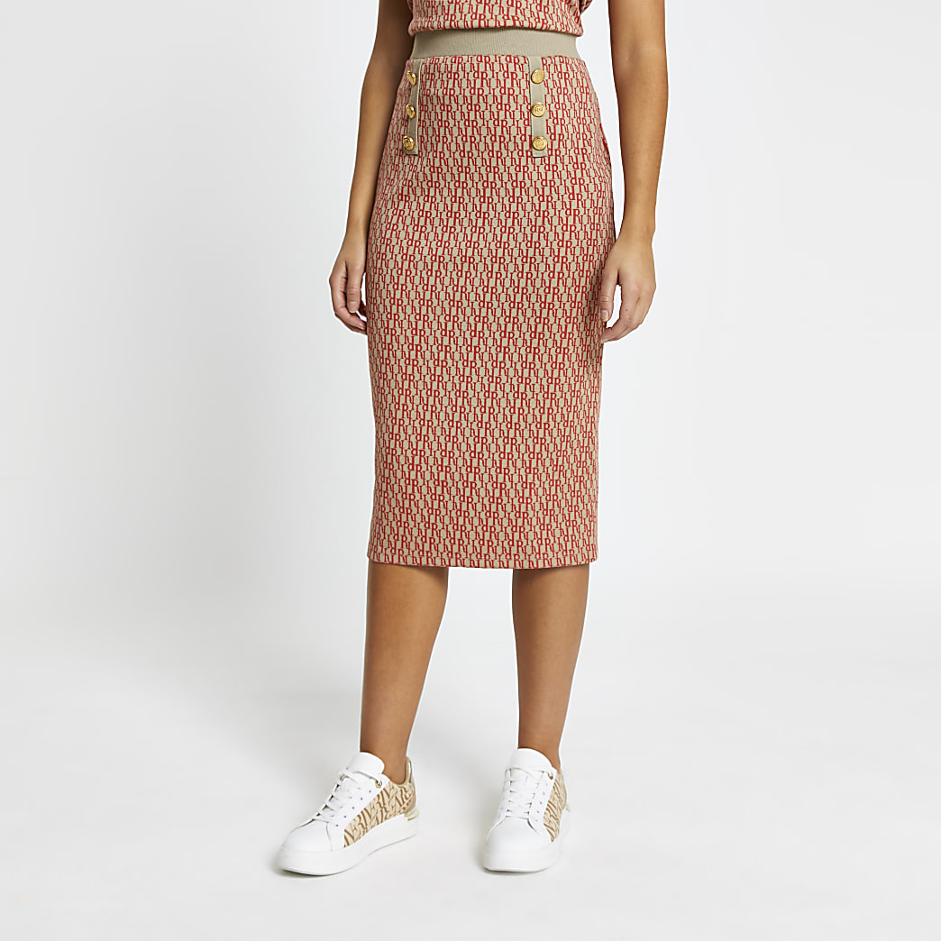Pink RI Jacquard midi skirt
