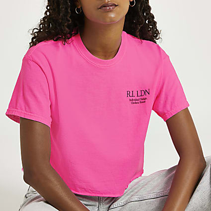 Pink RI LDN crop boyfriend t-shirt