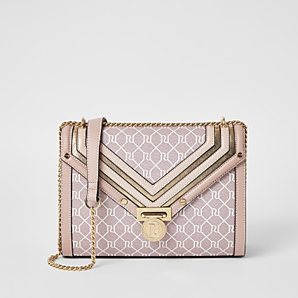 Pink RI monogram cross body bag