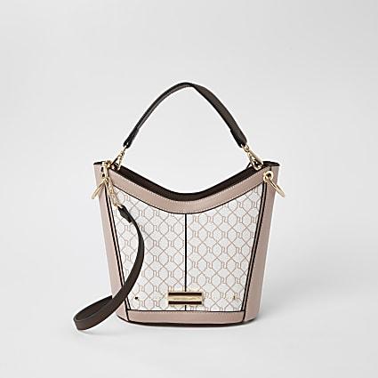 Pink RI monogram cross body bucket bag