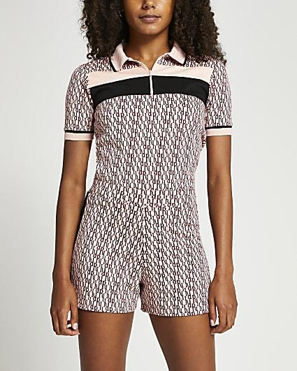 Pink RI monogram elasticated waist shorts