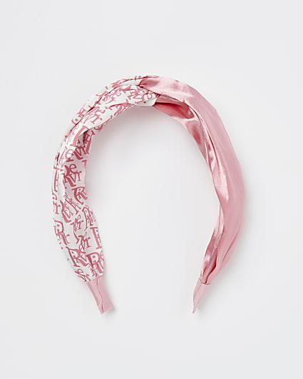 Pink RI monogram headband
