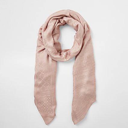 Pink RI monogram jacquard scarf