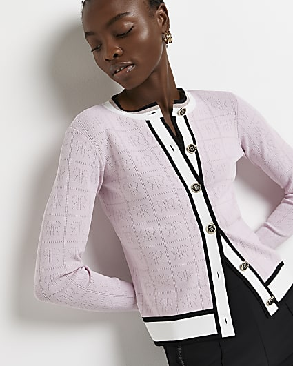 Pink RI monogram knitted cardigan
