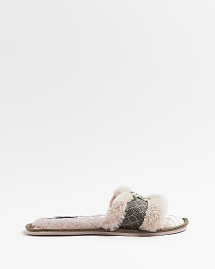 Pink RI monogram open toe slippers