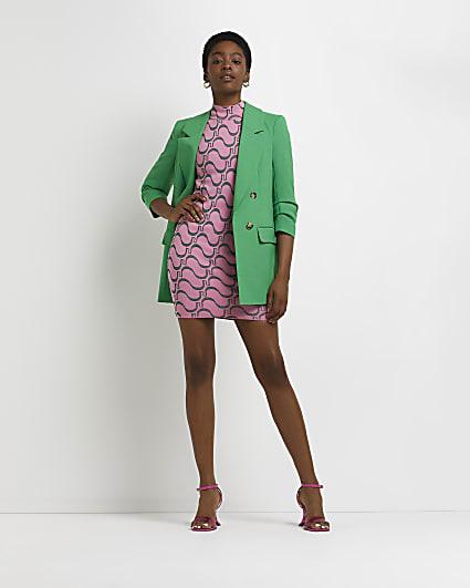 Pink RI monogram print bodycon dress