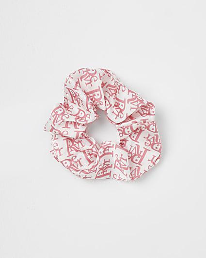 Pink RI monogram print hair scrunchie