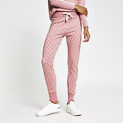 Pink RI monogram print jogger