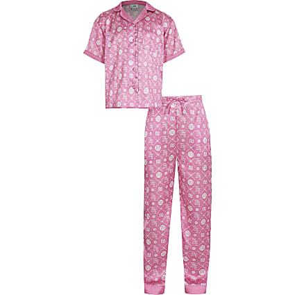 Pink 'RI' monogram print pyjama set