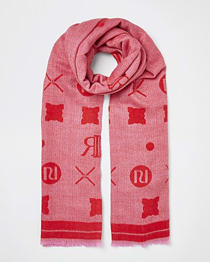 Pink RI monogram print scarf