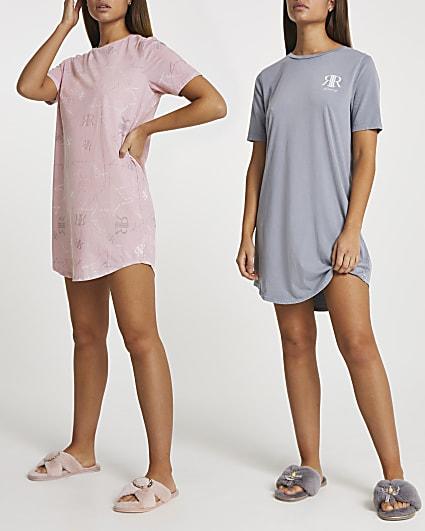 Pink RI monogram pyjama top multipack