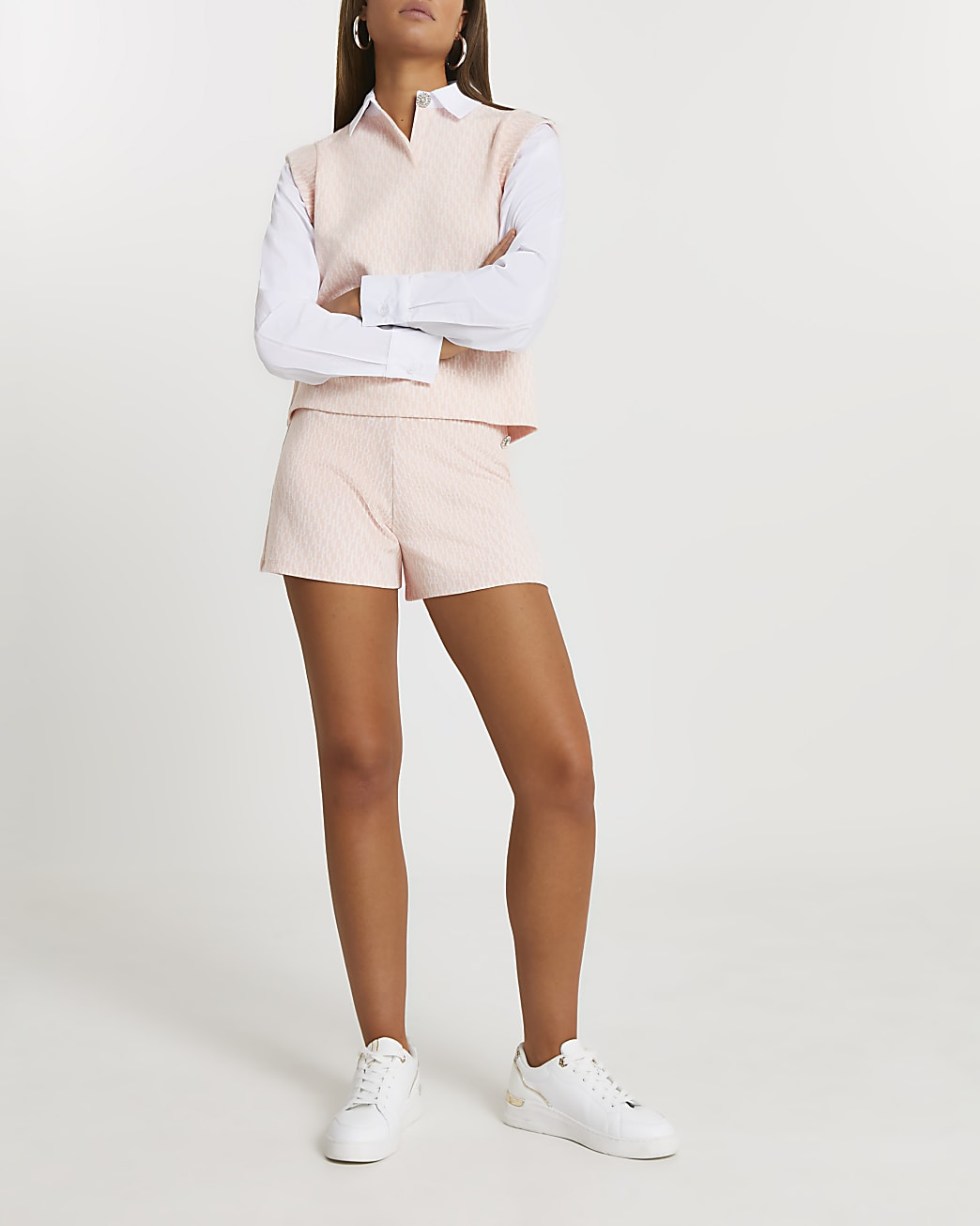 Pink RI monogram shirt jumper
