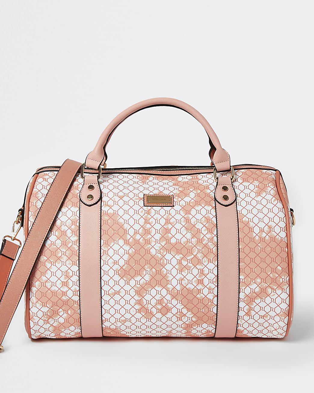 Pink RI monogram tie dye barrel bag