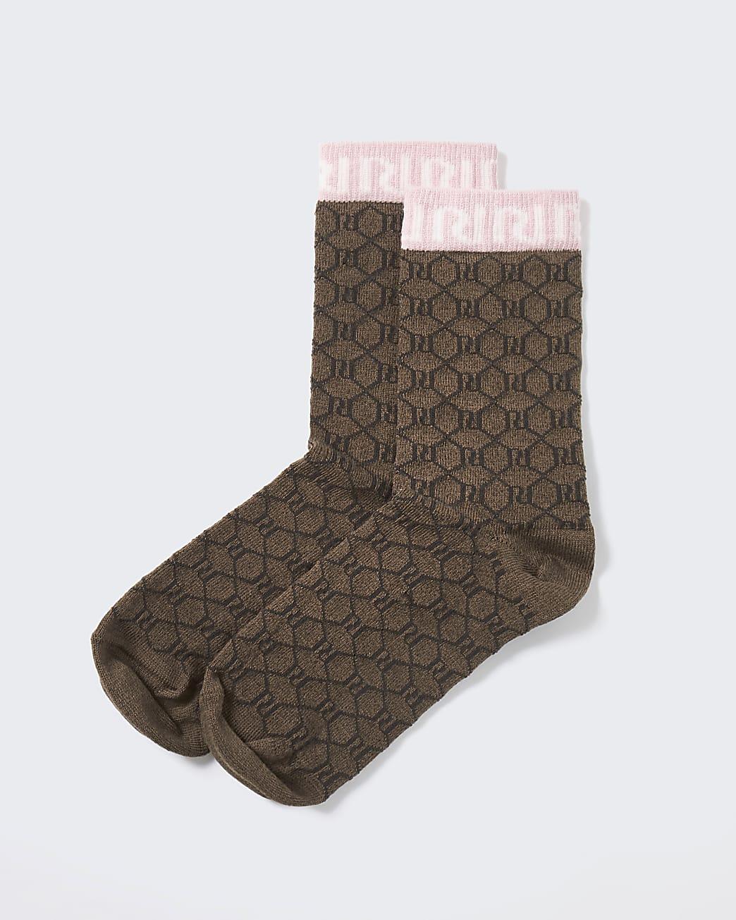 Pink RI monogram tube socks