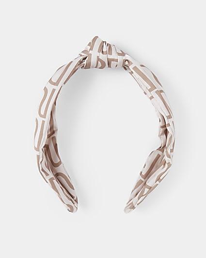 Pink RI monogram twist knot headband