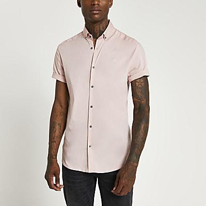 Pink RI muscle fit short sleeve shirt
