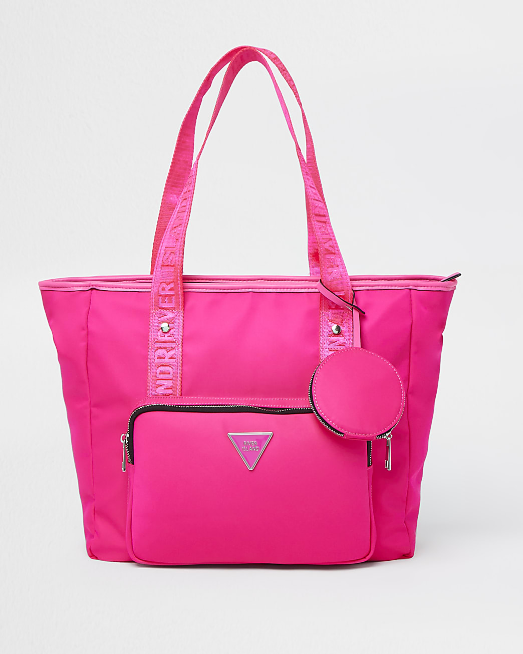 Pink RI nylon shopper bag with mini pouch