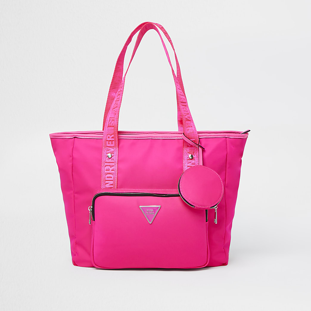 Pink RI nylon shopper bag with mini pouch