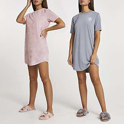 Pink RI oversized PJ t-shirt 2 pack