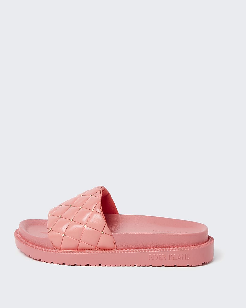 Pink RI padded chunky quilted sliders