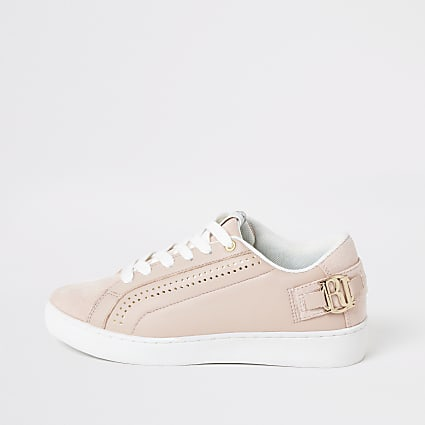 Pink RI perforated lace-up trainers