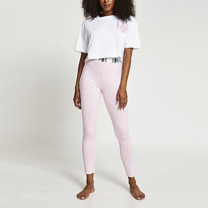Pink RI print pyjama 2 piece set