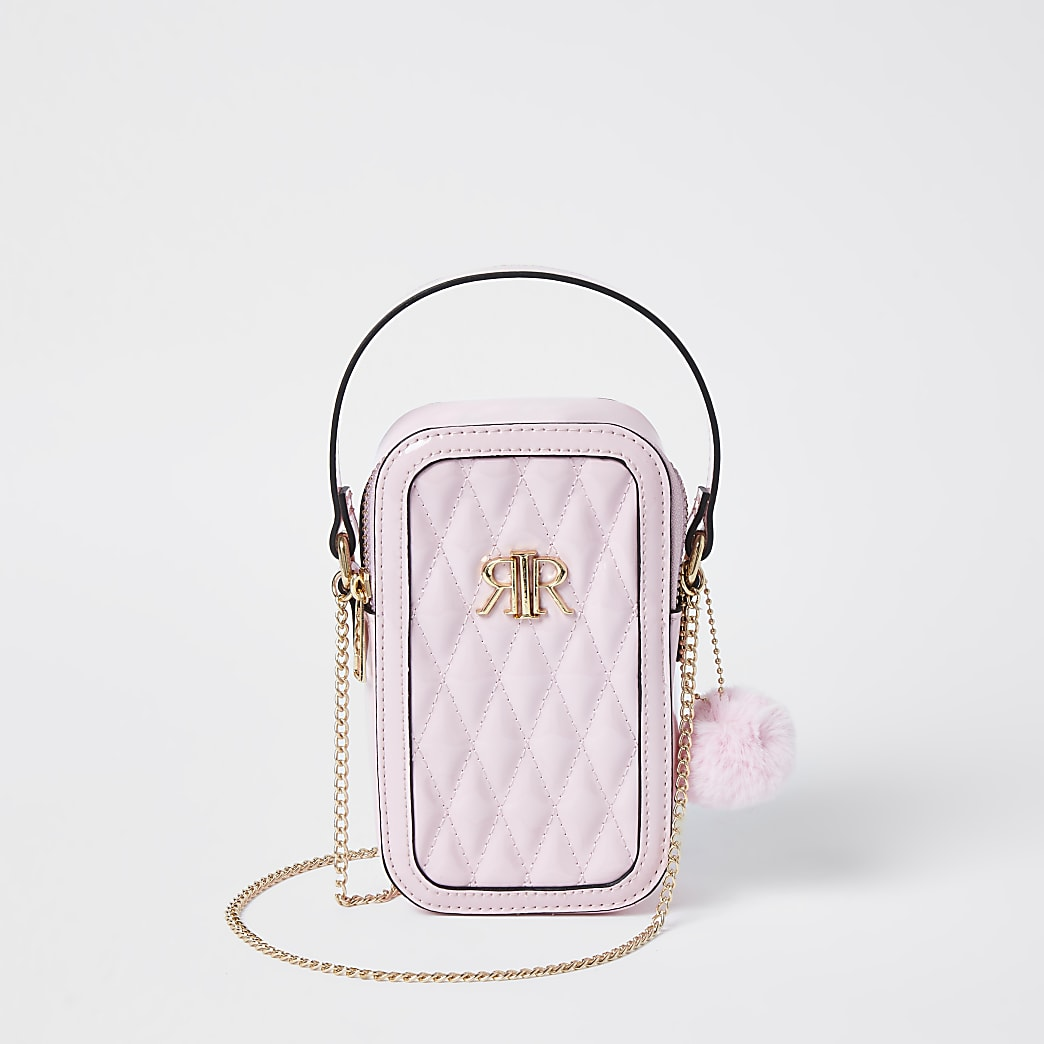 Pink RI quilted cross body bag