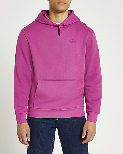 Pink RI regular fit hoodie