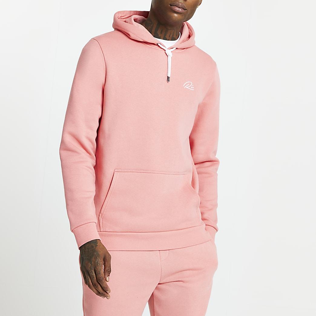 Pink RI slim fit hoodie