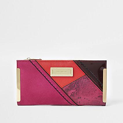 Pink RI snake print metal corner purse