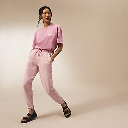 Pink RI Studio tie waist joggers