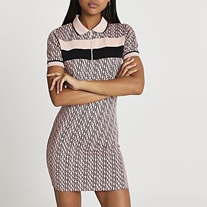 Pink RI zip front polo mini dress